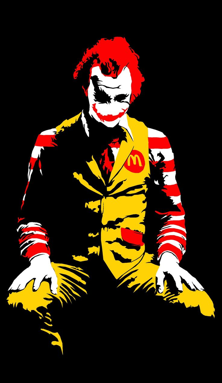 Ronald McDonald the Joker in disguise. The graffiti art of Banksy or in the style of Banksy, the anonymous graffiti artist and painter. Known for its black humor and technical separate stencil.