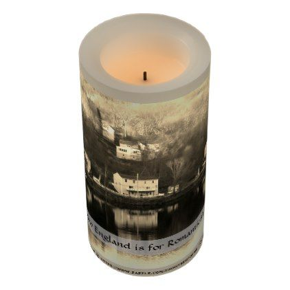 A View Of Clinton MA From The Wachusett Dam Flameless Candle - rustic gifts ideas customize personalize
