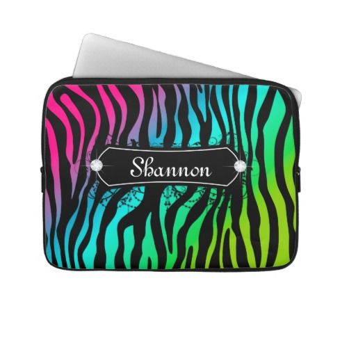 Zebra Laptop Case Custom Name Pink Computer Sleeves