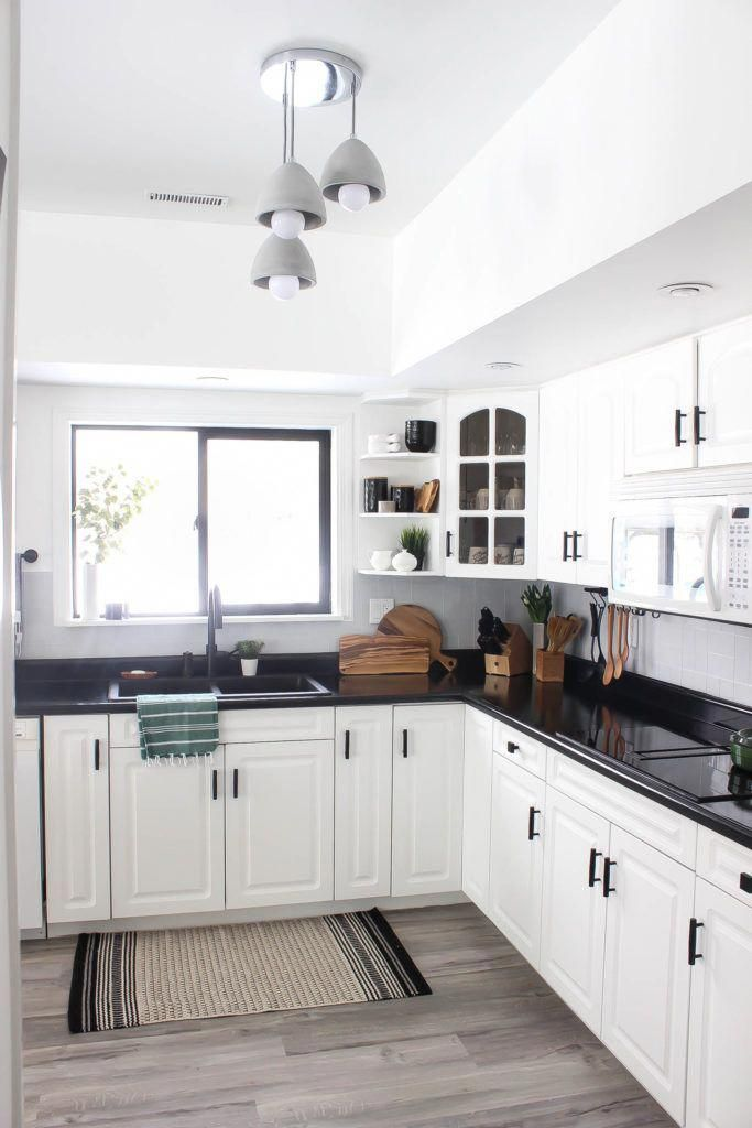 Our Weekend Renovation A New Modern Kitchen Love Create Celebrate In 2020 Black Kitchen Countertops Black Countertops White Cabinets Black Countertops