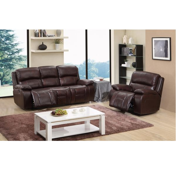 Cosmo Brown Top Grain Leather Reclining Sofa And Glider Recliner Chair Room Set Shopping And