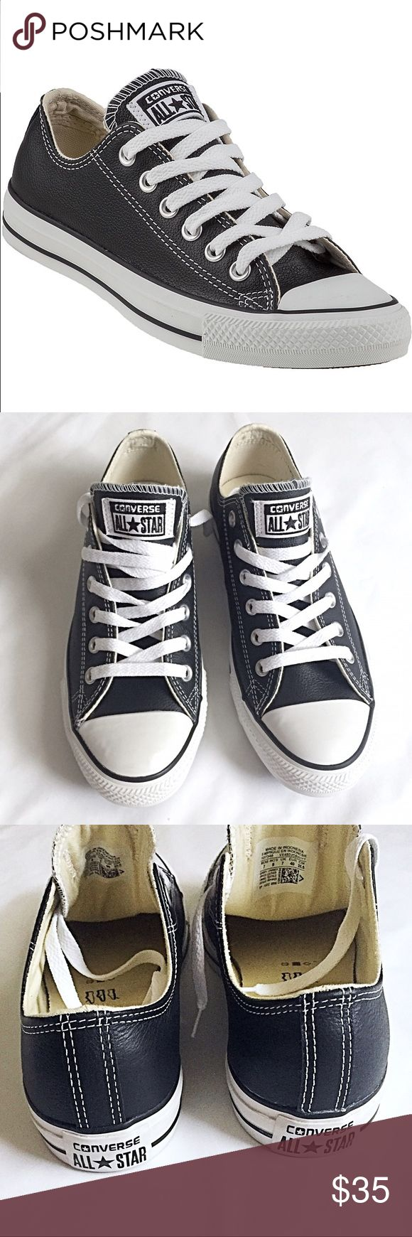 NWT Converse black leather. NWT Black leather converse sneakers. Unisex. Ladies size 9 or Men's size 7. Black leather with white trim. Comes with black laces also. Still in box but I'm missing the top!? These are super comfortable and super trendy. converse Shoes Sneakers