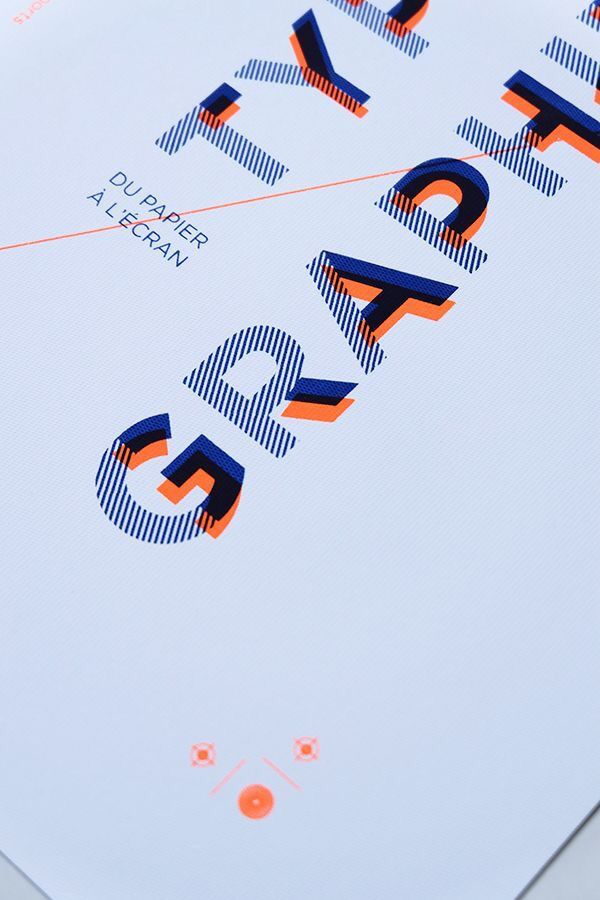 #typography #design (unknown designer); here, the designer used complementary colors (blue and orange) that create contrast. The orange acts as a shadow, creating 3D effect. Each letter looks like it has layers (stacked on top of each other)- solid blue, striped blue, and solid orange.