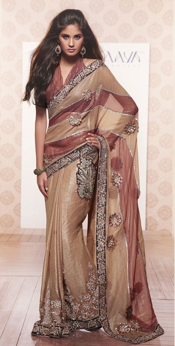 Fawn Faux Shimmer Georgette Saree with Blouse