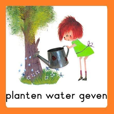 Takenbord Floddertje: planten water geven