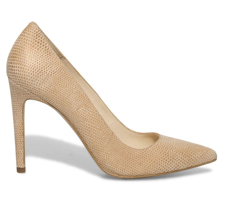 Escarpin croûte de cuir beige brillant - Cérémonie - Chaussures femme