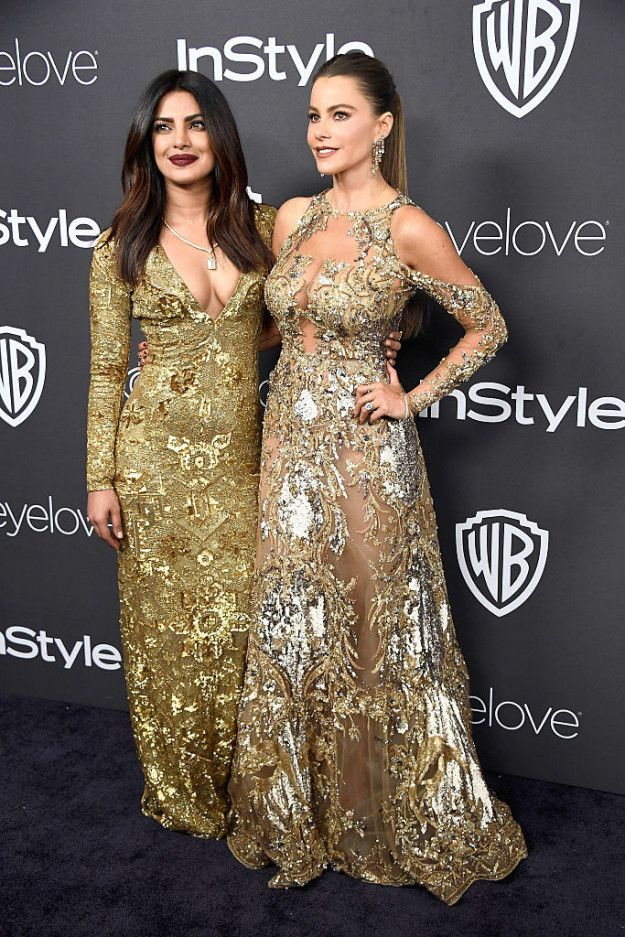 Priyanka Chopra and Sofia Vergara bumped into each other at the Golden Globe Awards 2017, located the goofball trapped in one another's immensely attractive bodies, and instantly hit it off. | These Photos Of Priyanka Chopra LOL-ing Uncontrollably With Sofia Vergara Are Everything