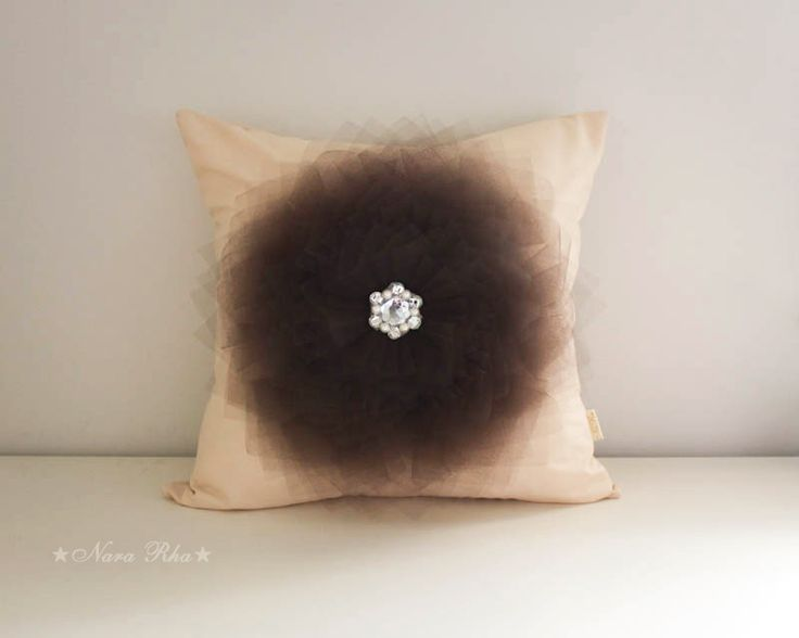 Brown Pointy Flower Pilllow Cover 16X16