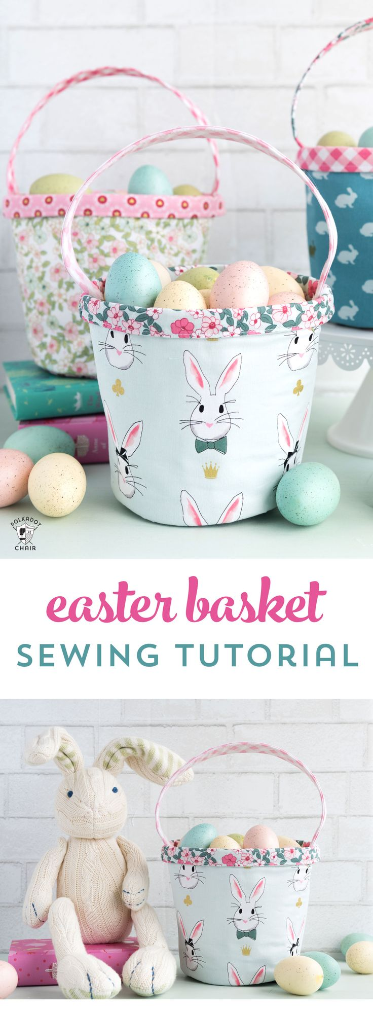 Free Easter Basket sewing tutorial - a cute little fabric basket perfect for Spr...
