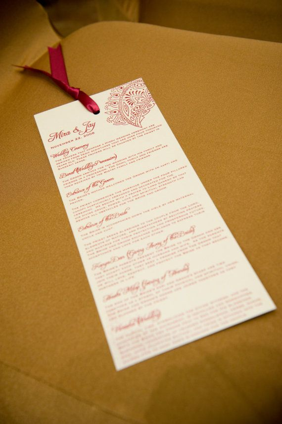 Custom Wedding Program And Or Indian Invitation Suite 125 Via Etsy