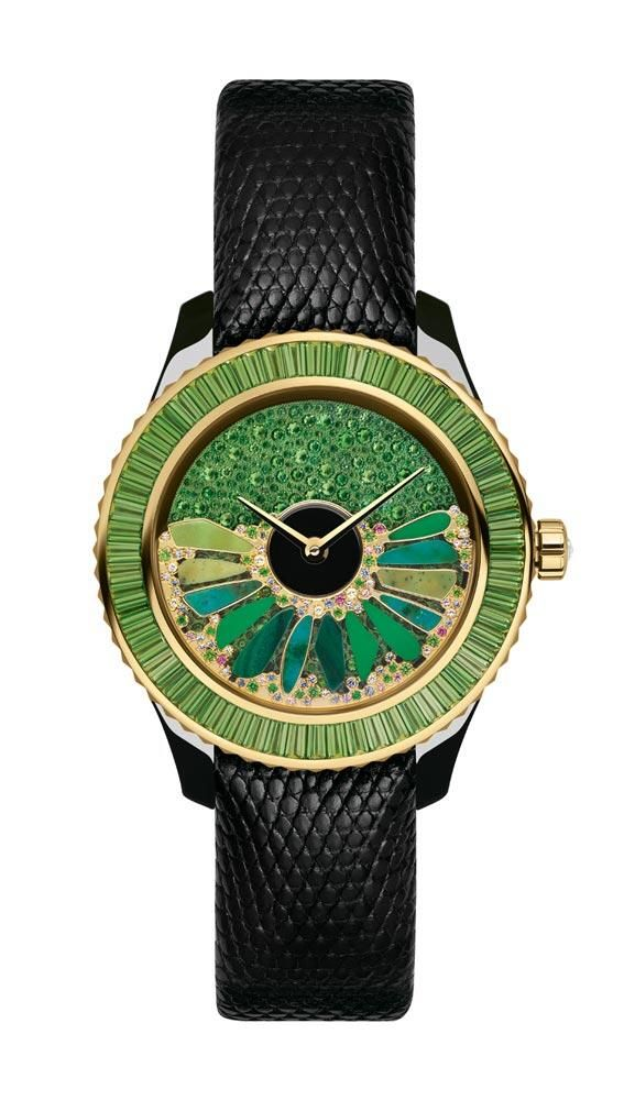 Dior watch via Harrods | The House of Beccaria. Beautiful emerald gems, and very declare details