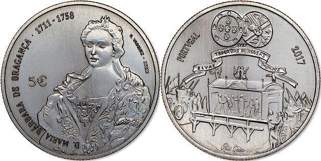 Portugal 5€ 2017 – D. Maria Bárbara de Bragança