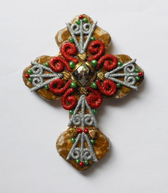 CROSS SALE OOAK mixed media decoupaged found object hand painted Christmas wall cross religious gift art on Etsy, $25.00