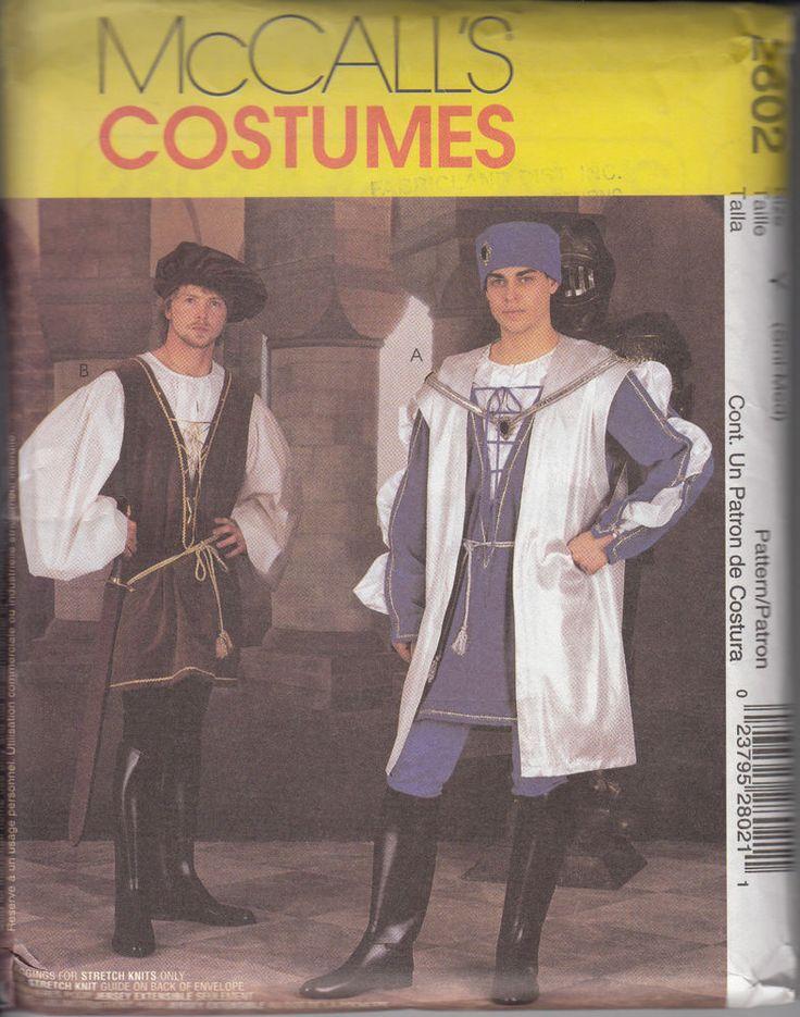 mccalls mens renaissance costume 2802 surcoat tunic hats small medium uncut - Ebaycom Halloween Costumes