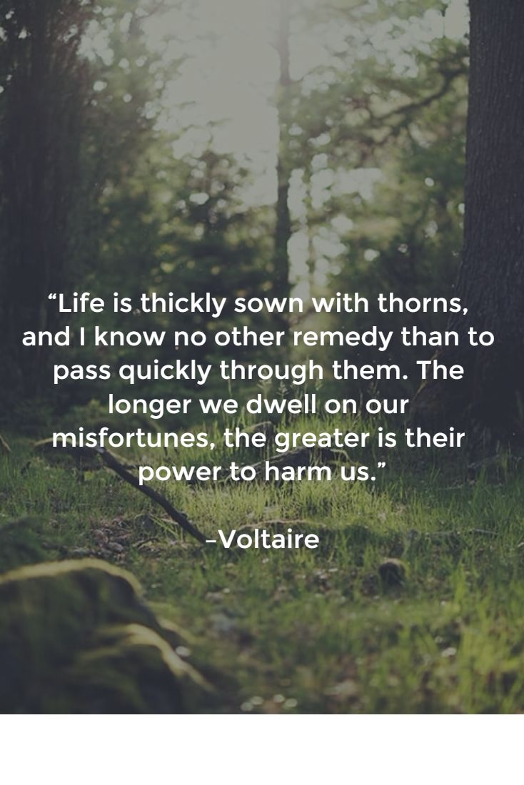 """Life is thickly sown with thorns, and I know no other remedy than to pass quickly through them. The longer we dwell on our misfortunes, the greater is their power to harm us.""   –Voltaire"