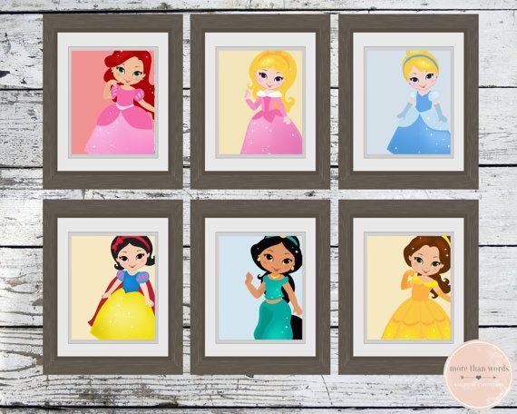 Disney Princess Nursery Prints Set of 6 8x10 by MoreThanWords17