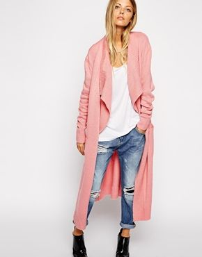 Asos waterfall cardigan dusty rose. Addicted to this pink at the moment - keep buying it.