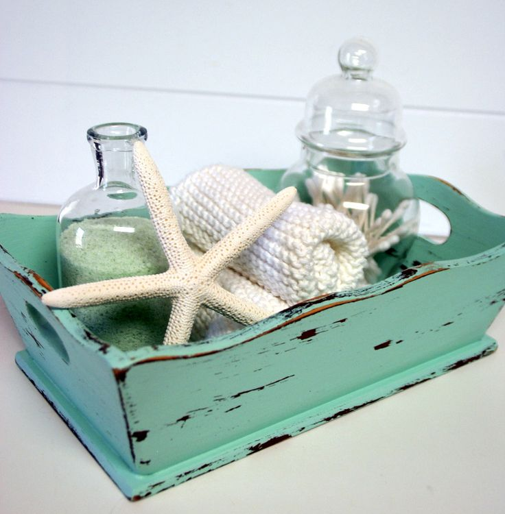 home decor coastal style great for a beach house guest room or bathroom decor wood tray starfish shells in apothecary jar seafoam