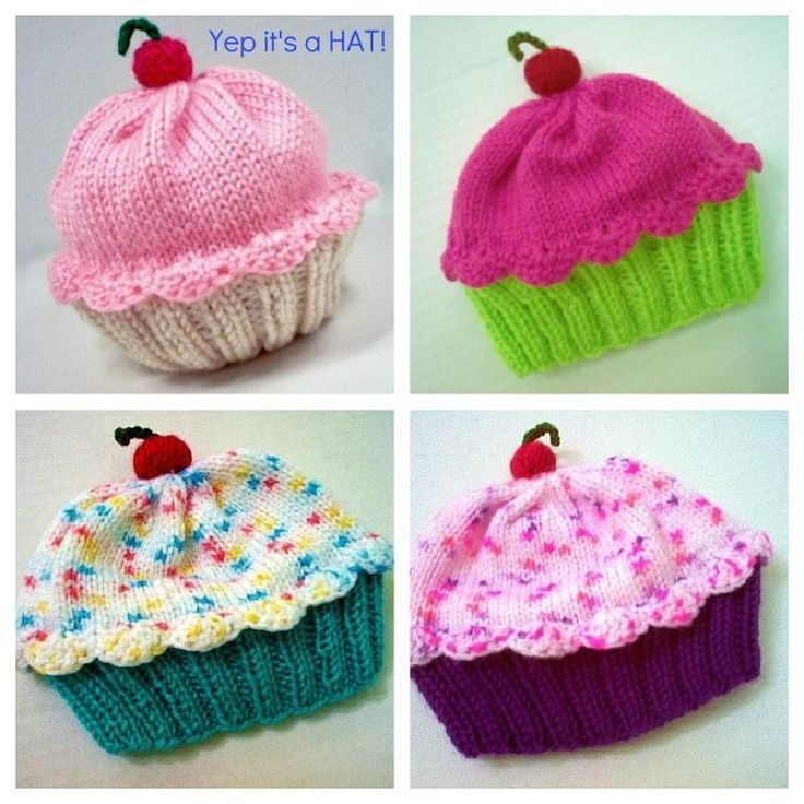 (6) Name: 'Knitting : Cupcake Hat - Preemie to Adult sizing