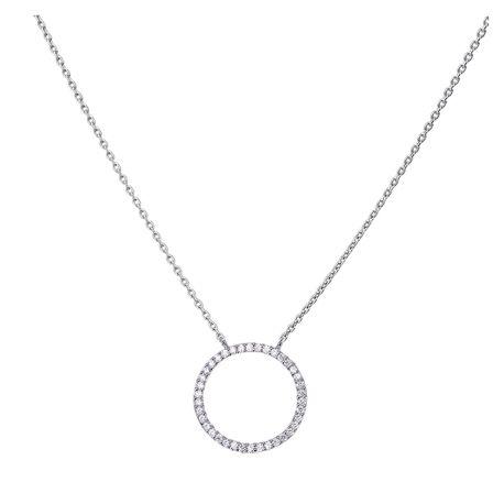 Collier argent et oxydes de zirconium motif cercle Murat Paris
