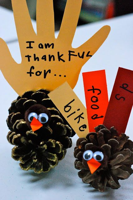 Have your kids write out what they're thankful for on these give-thanks turkey pinecones. Each one will be attached to a pinecone turkey for an interactive centerpiece that reminds guests of Thanksgiving's true meaning.