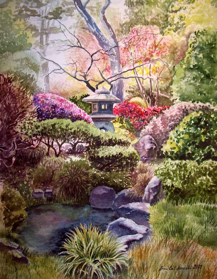brilliant japanese garden cherry blossom paintings pin and more on cheery blossoms pond painting a in decor