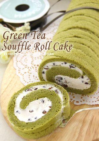 Green Tea Souffle Cake- recipe in Korean. [녹차] 수플레롤케이크
