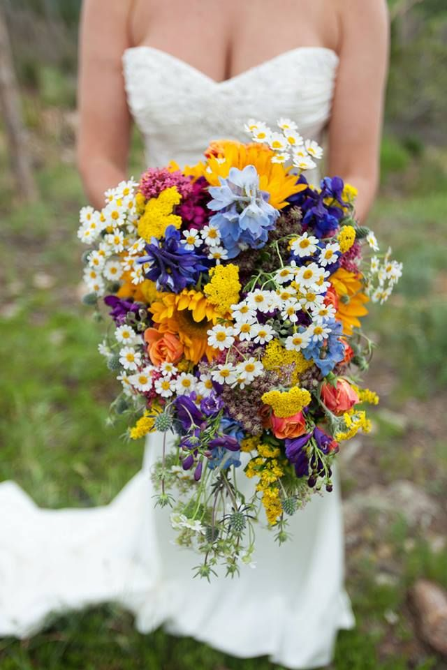 A Bright Free Form Cascading Wildflower Bouquet By Boulder Blooms
