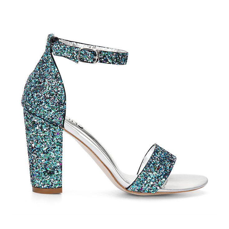 Зеленый Блестки Ремешки высоких каблуках сандалии - US$37.95 -YOINS