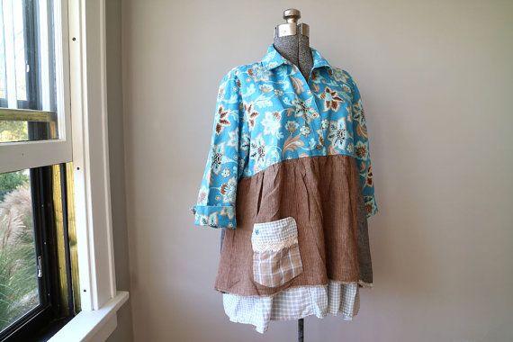 Large XL Linen Cotton Lagenlook Tunic Shabby by BentEdgeAlchemy