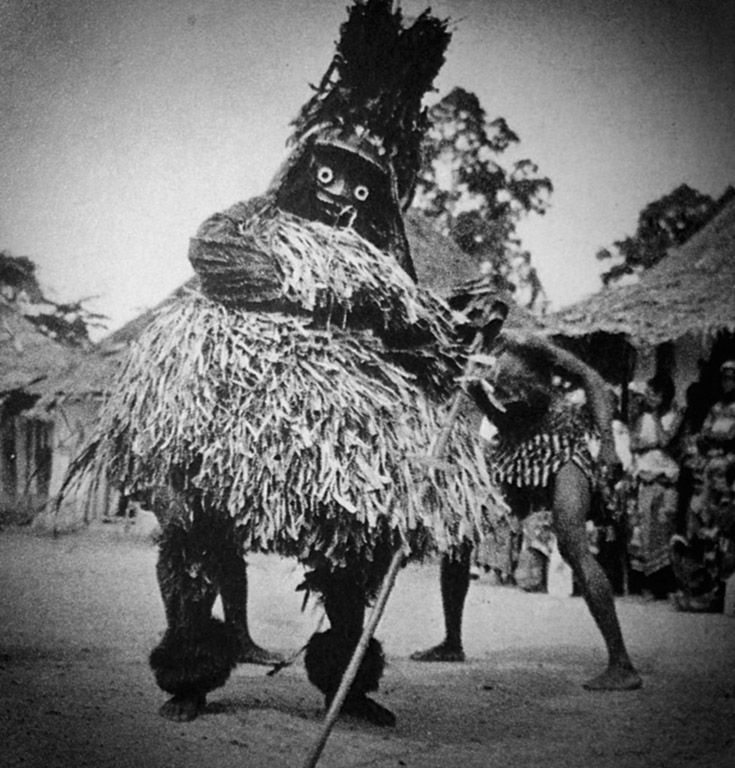 Africa | Maskerader from Liberia or Ivory Coast, from the Krau, Wobe or Guere people | Photographer and date unknown