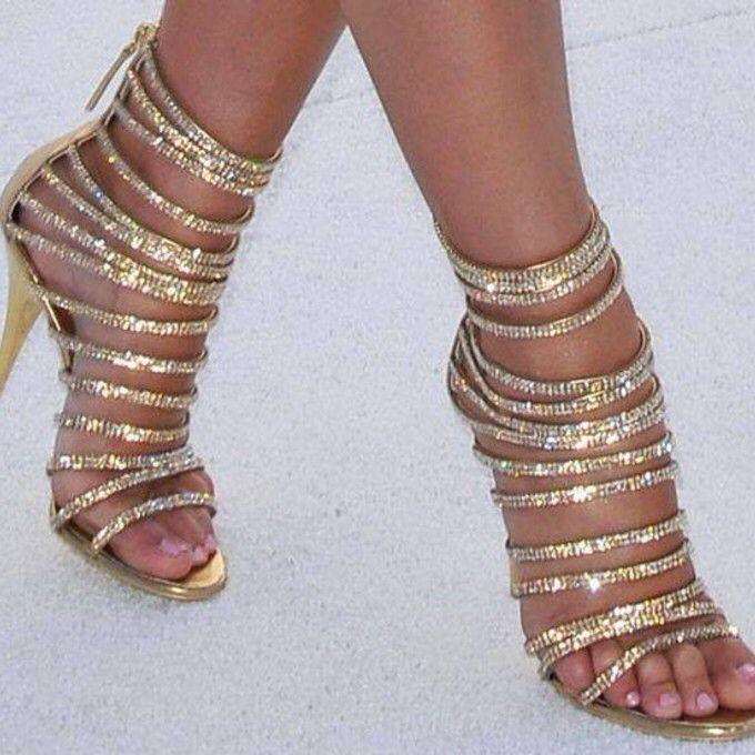 Sexy Strappy Sandals 2015 Gold Rhinestone High Heels Gladiator Summer Shoes Women Wedding Shoes Woman Pumps Sandalias Femininas