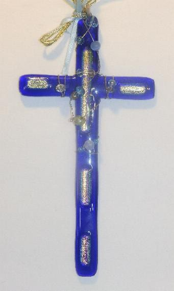 001,HangingCrosses Glass cross,cross,Christian cross,wall decor ,window hanging, cobalt blue cross, blue, meditation,fused glass cross by SuspendedStar on Etsy