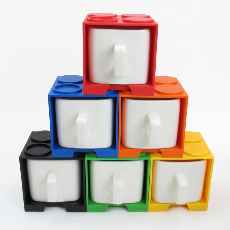LEGO-style cube mugs. Cool!