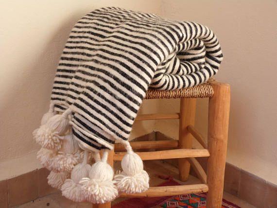 moroccan blanket pom pom blanketsbed spreadmoroccan throw