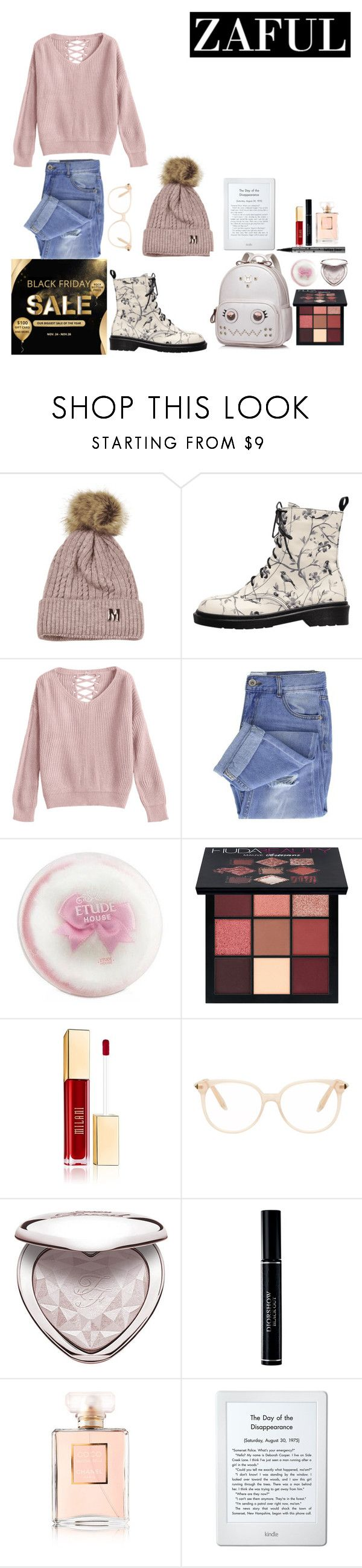 """""""Untitled #393"""" by aliss-15 ❤ liked on Polyvore featuring Taya, Etude House, Huda Beauty, Victoria Beckham, Kat Von D, Too Faced Cosmetics, Christian Dior, Chanel, Amazon and contest"""