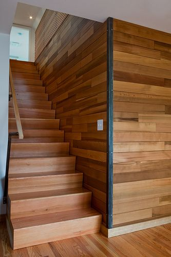 gray kat residential design studio - blending old and new - seamless zigzag fir stair - salvaged cedar wall