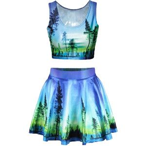 Purple Green Forest Printed Corest Dresses