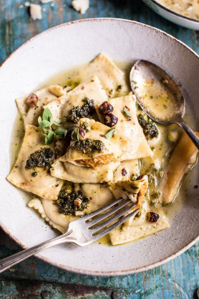Butternut Squash Hazelnut Ravioli in Garlic Parmesan Broth