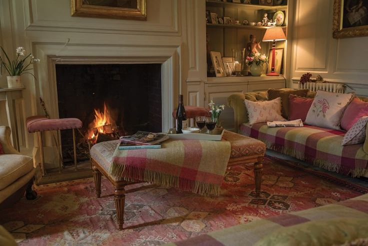 Susie Watson's cosy Sitting Room - Love how she uses the throw on the couch! What a beautiful, cozy room.