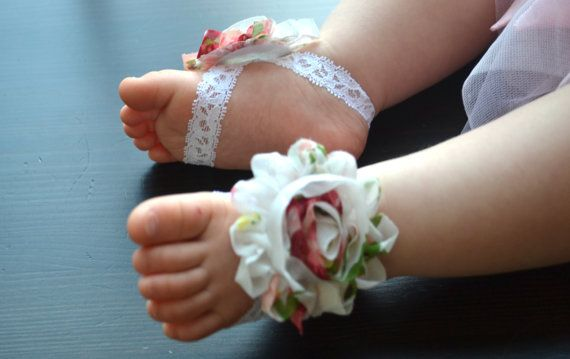 Baby Barefoot Sandals Pair....Newborn Barefoot Sandals..Newborn Baby Photo Prop, Baby Crib shoes, Baby girl accessories