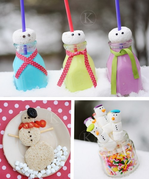 Snowmen snacks - do top one with large marshmallow with food marker face