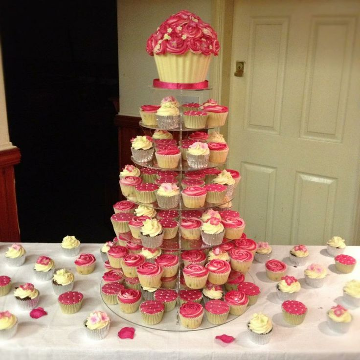 Fuchsia Pink and Ivory Wedding Cupcake Tower