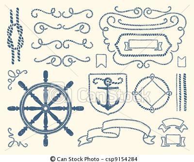 Vector - Nautical decoration set - stock illustration, royalty free illustrations, stock clip art icon, stock clipart icons, logo, line art, EPS picture, pictures, graphic, graphics, drawing, drawings, vector image, artwork, EPS vector art