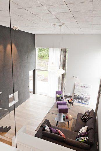 Arjen pientä luksusta, Lammi-Kivitalo Lunan korkea olohuone. Lisää ideoita www.lammi-kivitalot.fi