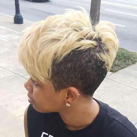 Black And Blonde Pixie Undercut