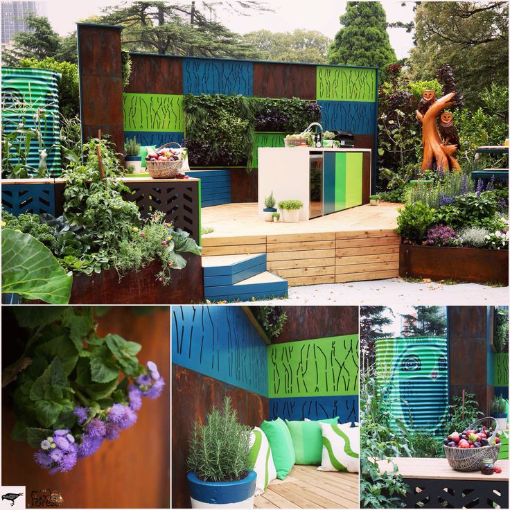 The innovative and exciting 2015 Silver Medal Garden and the Sustainable Garden Award winning landscape design from Phillip Withers Landscape Design. 'Food Forest' engaged the senses in every possible way. Food Forest was an attainable wonderland that enticed us to explore, challenged convention and was ultimately a veritable feast. Among the abundant garden, awesome screens from Out Deco painted in Sydney Harbour Paint's vibrant custom colors.