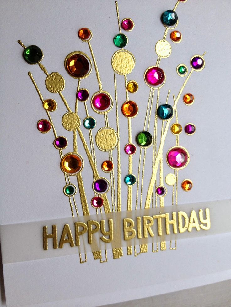 "This sprig of shiny gems says ""Happy Birthday"" in a big way!  Gold emboss the Spring gems stamp then add rhinestone gems to random circles, letting the gold shine through on some of them.  Gold embossing the sentiment on vellum will allow the sprig to be the star of this handmade card."
