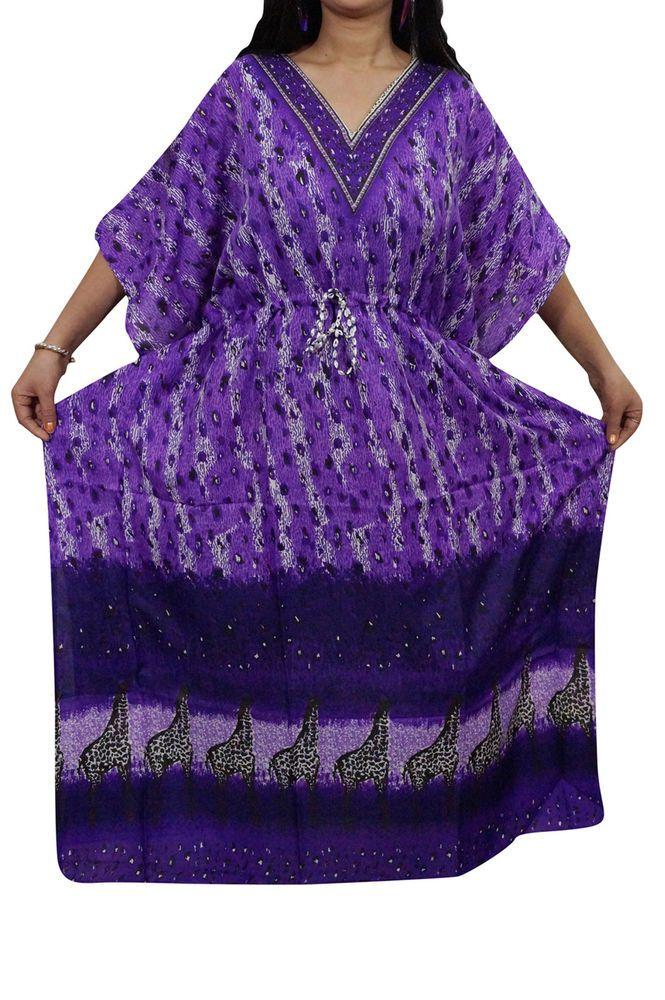 Indiatrendzs Women's Nighty Dress Viscose Purple Lounger Kaftan Dory at Waist  | eBay #nighty #womens #nightdress #maxi #eveningwear #kaftandress
