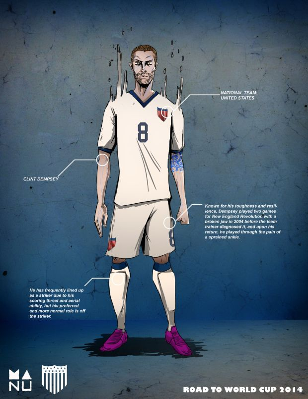 Dempsey 01 620x805 Fifa World Cup 2014 Amazing Football Player Illustrations